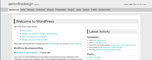 afd WordPress 2 Admin theme