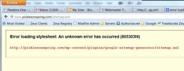 unknown error 805303f4 sitemap xml