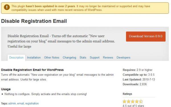 disable user registration emails wordpress