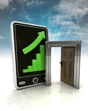 increasing graph stats with open door to success on phone display with sky