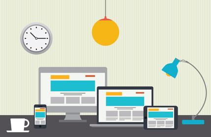 Flat design vector illustration of designer desktop