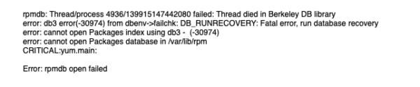 yum update error rpm db corrupt