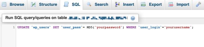 change wordpress password with mysql query