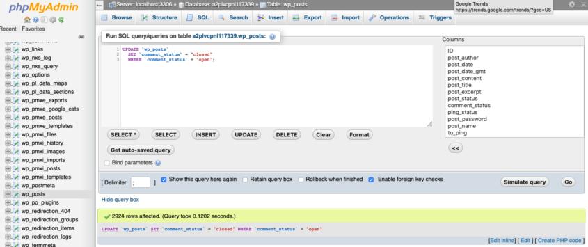 remove wordpress comments in bulk phpmyadmin mysql query